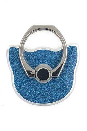 Ring Holder Glittery Cat Blue