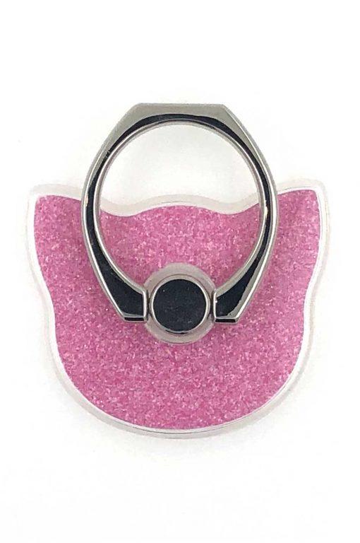 Ring Holder Glittery Cat Pink