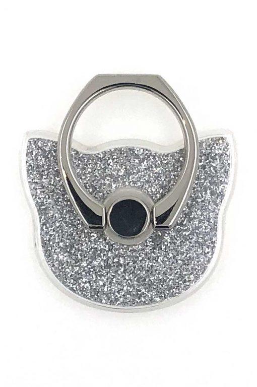 Ring Holder Glittery Cat Silver