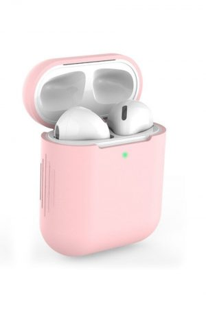 Airpods i rosa soft cover fodral