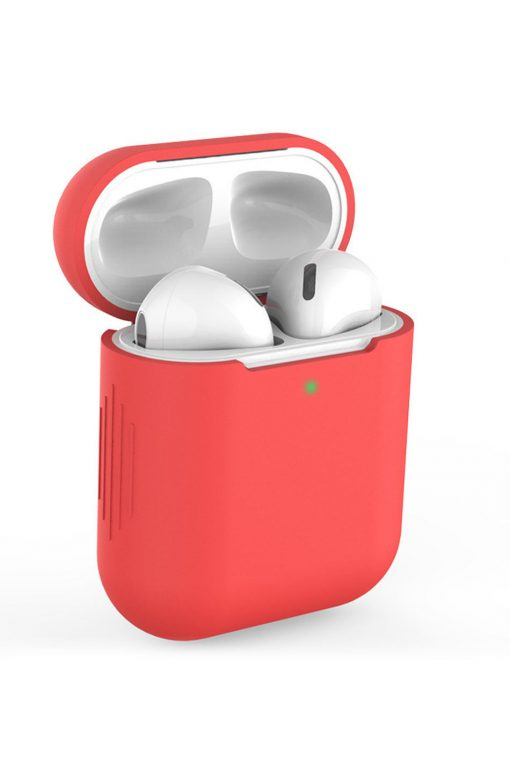 Airpods i rött soft cover fodral