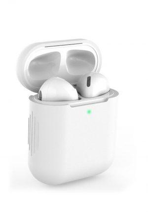 Airpods i vitt soft cover fodral