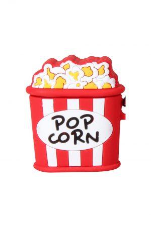 airpods med rödvitt popcorn fodral