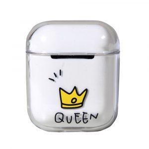 Transparent airpods fodral med en tiara och texten queen