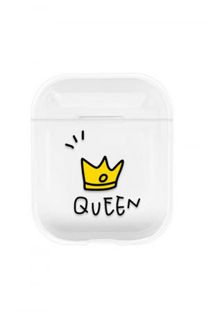 Transparent airpods case fodral med en gul tiara och ordet queen