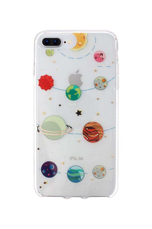 sassy transparent iphone skal med planeter som tryck