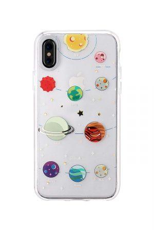 sassy transparent iphone skal till iphone x med planeter