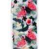 sassy transparent iphone skal med blad och rosa flamingos