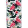 transparent iphone skal med rosa flamingos och gröna blad