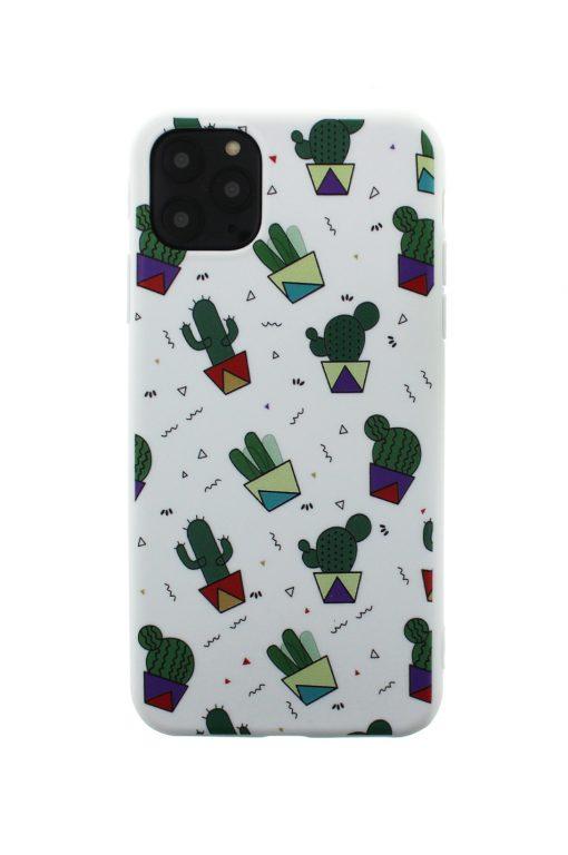 iphone 11 pro med soft case skal med kaktusar med vit bakgrund