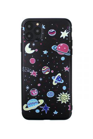 soft case skal till iphone med tecknade planeter och svart bakgrund
