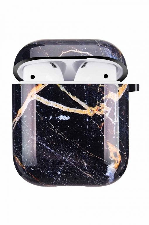 Airpods i svart marmor cover fodral