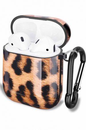 Airpods i leopard cover fodral med karbinhake