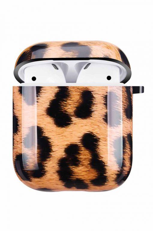 Airpods i cover fodral med leopardmönster