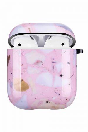 Airpods i cover fodral med rosavitt tryck