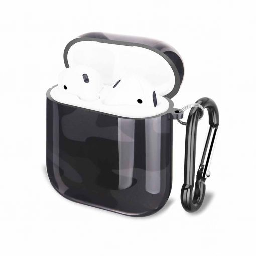 Airpods i svart grått camo cover fodral med karbinhake