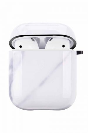 Airpods i cover fodral med vitt marmortryck